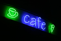 café in neon lights