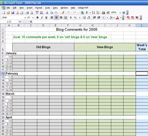 Excel spreadsheet for tracking your blog comments in 2008