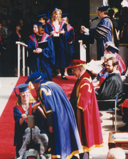 Glenda receiving her degree