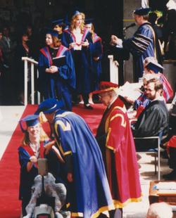 Glenda receiving her degree