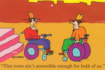 Two guys in wheelchairs at the bottom of a set of stairs, one is pointing a gun. They're facing off like in a Western showdown.