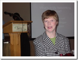 Glenda Watson Hyatt prior to presenting