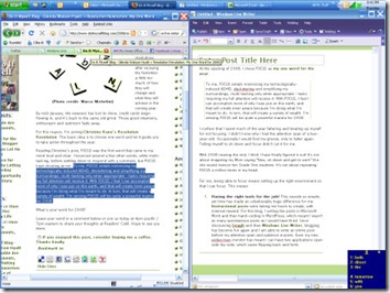 Screen shot of my blog and Windows Live Writer open side-by-side