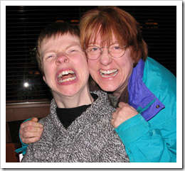 Glenda Watson Hyatt and Lorelle VanFossen laughing it up