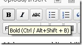 The keyboard shortcut for bold