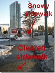 Sidealk is partially covered by snow and partially shoveled