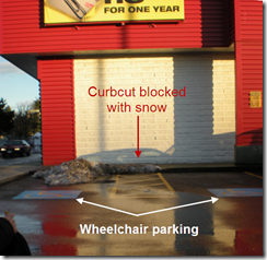 Wheelchair parking with curbcut blocked with snow