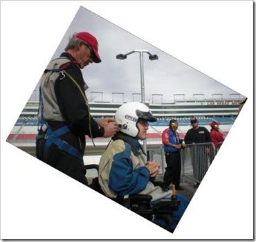 Darrell wearing a race helmet