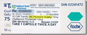 A prescribed box of Tamiflu from the British Columbia Pandemic Supply