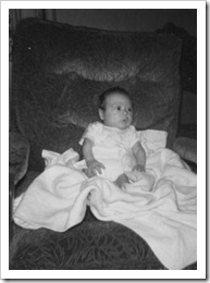 Darrell at 4 or 5 months propped up in an easy chair