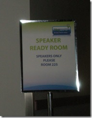 Speaker Ready Room sign