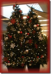 Decorated Christmas trees in shopping mall