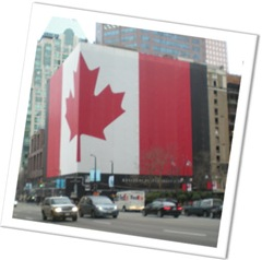 Canadian huge a in wrapped Vancouver downtown building