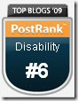 PostRank Top Blogs 2009 - #6 in Disability