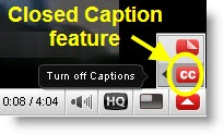 YouTube closed caption button
