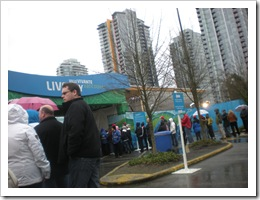 Line up waiting to get into Vancouver's LiveCity Olympic site