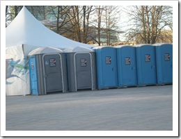 Long row of portable toilets