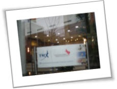 Sponsor banner in office window