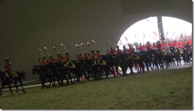 The RCMP Musical Ride entering the tent arena in Holland Park