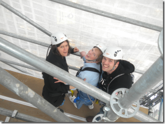 Karen, Glenda and Craig climbing the tower together
