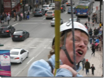 Glenda zipping above the downtown traffic