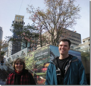 Auntie Fern and Craig below the zip line at Robson Square