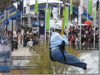 Glenda zipping high above Robson Square