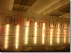 Out From Under exhibition sign