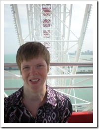 Glenda Watson Hyatt riding the ferris wheel