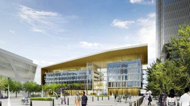 Artist rendering of Surrey's new city hall and plaza
