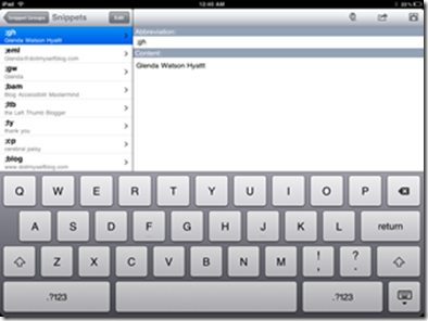 The TextExpander app on the iPad
