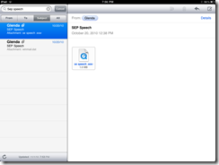 Screenshot of email with attachment on my iPad