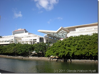 Hawaii Convention Center viewed from the Ala Wai Canal