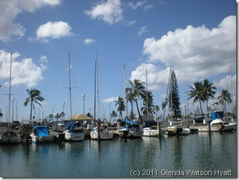 Boats moored at Honolulu Marina