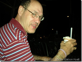 Darrell enjoying Hagen Daz ice cream