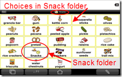 Icons displayed in the Snack category
