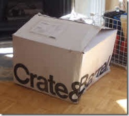 Large Crate & Barrel box on the floor