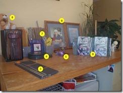 Glenda's work table for packaging books