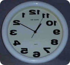 A counterclockwise clock