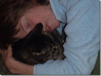Glenda cuddling with Faith