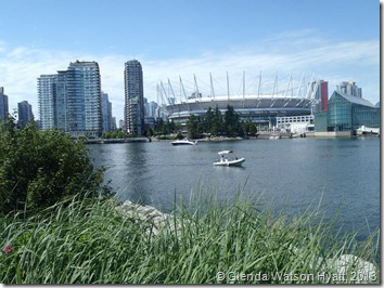 Grasses in the foreground, BC Place Stadium in the background and False Creek in between