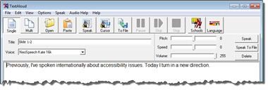 Screenshot of TextAloud software