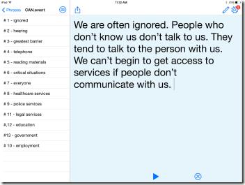 Screen shot of Proloquo4Text app